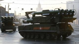 Russian Buk missile launcher rehearsing for parade in Moscow (29 April)