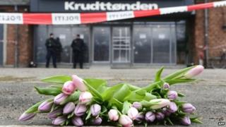 Flowers are pictured in front of the cultural centre Krudttonden in Copenhagen, Denmark, on February 16, 2015.
