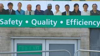 'Safety Quality Efficiency' sign at Derriford Hospital