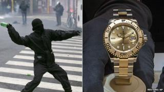 A composite image showing an Italian protesters and a Rolex watch