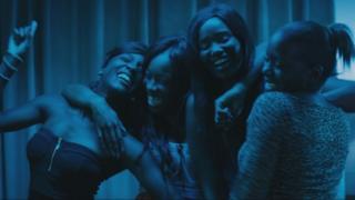 Karidja Toure with Assa Sylla, Lindsay Karamoh and Marietou Toure in Girlhood