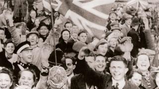 Islanders celebrating their liberation