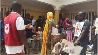 Clothes being distributed by the Red Cross in Yola (May 2015)