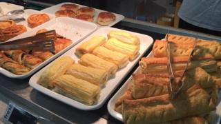 Sausage rolls on trays at Hounslow count