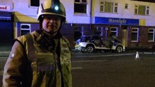 Hinckley police car fire