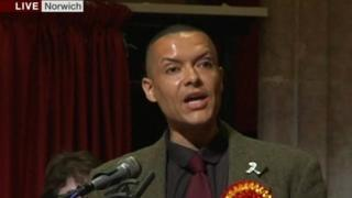 Clive Lewis giving his acceptance speech