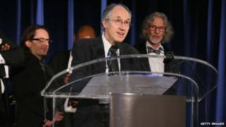 Charlie Hebdo editor-in-chief Gerard Biard accepts PEN/Toni and James C. Goodale Freedom of Expression Courage Award