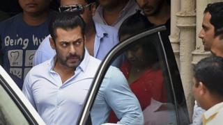 Bollywood actor Salman Khan leaves home for court in Mumbai, India, Friday, May 8, 2015.