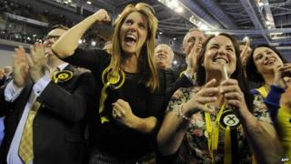 SNP supporters cheer on general election night