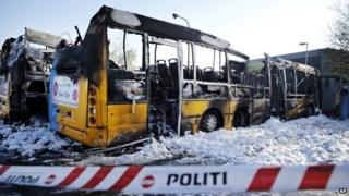 Four burned buses at Copenhagen Bus Company Arriva's garage in Oesterbro, Copenhagen - early Friday May 8, 2015