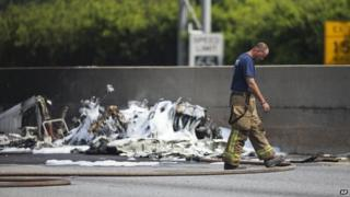 Officials shut down Interstate 285 to investigate the cause of the crash