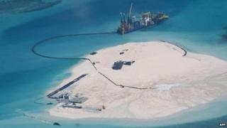 A Chinese land reclamation project in the disputed Spratly chain in an image from the Philippine foreign ministry.