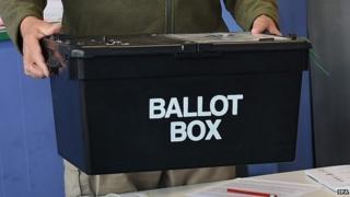 Man holding ballot box