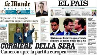 Composite picture of the front pages of the European newspapers Le Monde, El Pais and Corriere della Sera