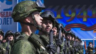 Russian soldiers march during the Victory Parade in Moscow