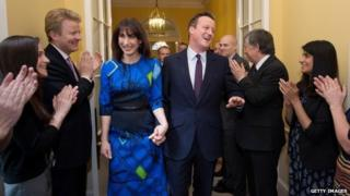 David and Samantha Cameron back in Downing Street