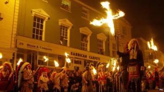 A procession on bonfire night