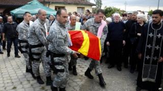 Funeral for police officer killed in Kumanovo. 11 May 2015