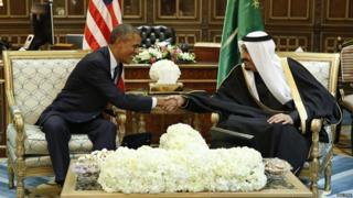 President Obama and King Salman shaking hands