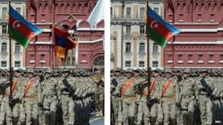 Two images side by side, one showing the Azeri flag on its own, the other showing the Azeri and Armenian flags together.