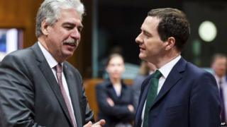 Mr Osborne speaking to Austrian counterpart Hans Joerg Schelling