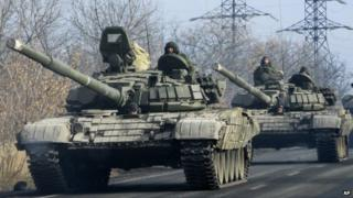 Donbas rebels using Russian tanks - file pic