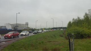 Standing traffic on & off Greencore roundabout heading into Selby as bypass is closed for repairs.