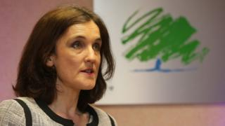 Northern Ireland Secretary of State Theresa Villiers pictured at the Northern Ireland Conservatives' manifesto launch in Belfast in April