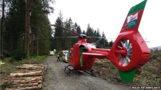 Wales Air Ambulance crew arrive in Coed y Brenin forest