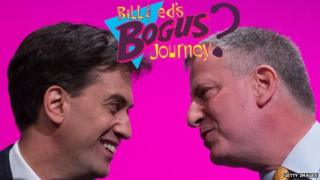 Ed Miliband and Bill De Blasio, face to face.
