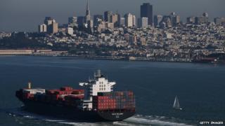 Container ship travelling through San Francisco Bay