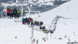 Quad chair at Nevis Range in February