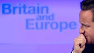 "David Cameron before ""Britain and Europe"" logo"