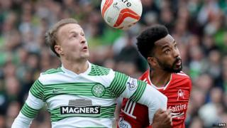 Celtic's Leigh Griffiths and Aberdeen's Shay Logan