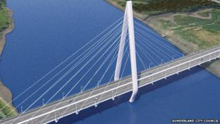 Artist's impression of new River Wear crossing