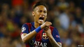 """Barcelona""""s Neymar in match against Bayern Munich - 6 May 2015"""
