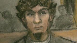 Courtoom sketch of Dzhokhar Tsarnaev and his defence team