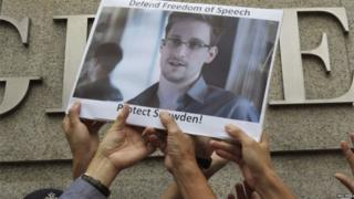 Snowden protest in Hong Kong