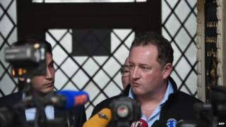 Thierry Lemetayer, son of a missing sailor of the sunken Bugaled Breizh ship, speaks outside the appeal court in Rennes on 13 May 2015