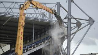 The damaged West Stand at Windsor Park