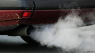 Car exhaust pipe emitting smoke