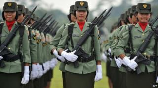 Female Indonesian soldiers stand in formation in Jakarta (file picture)
