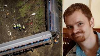 Amtrak engineer Brandon Bostian and the train wreckage