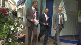 Nathan Gill and Nigel Farage campaign in the Ynys Mon by-election in 2013