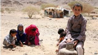 Yemeni children displaced by fighting (24/04/15)