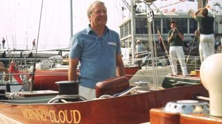Edward Heath aboard his yacht Morning Cloud
