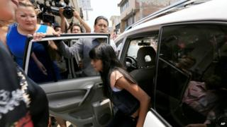 Alondra Diaz Garcia arrives for a court hearing in Los Reyes, Mexico. (12/05/ 2015)