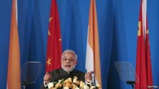 Indian PM Narendra Modi at the India-China Business Forum in Shanghai 16 May 2015