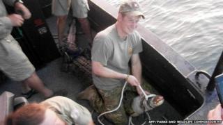 Prince Harry in Australia's Northern Territory sitting on a 3.1 metre crocodile in Darwin Harbour
