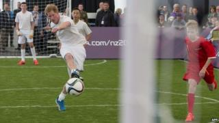 Prince Harry scoring the winning goal in a football match in New Zealand